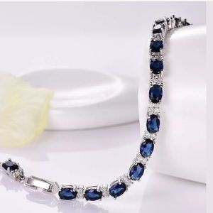 Jewelry - Blue sapphire Crystal white Gold filled Bracelet